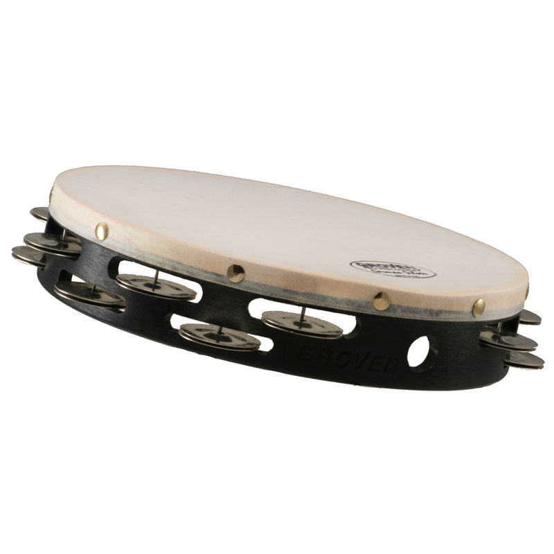 """Grover Pro 10"""" Projection-Plus Double-Row German Silver Tambourine (Natural Head)"""