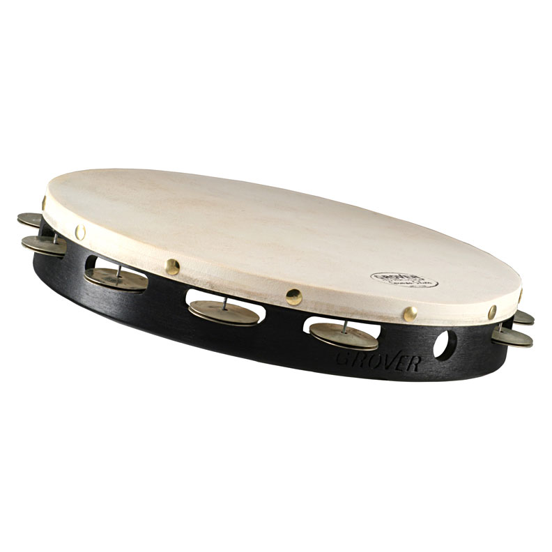 """Grover Pro 12"""" Projection-Plus Single-Row German Silver Tambourine (Natural Head)"""