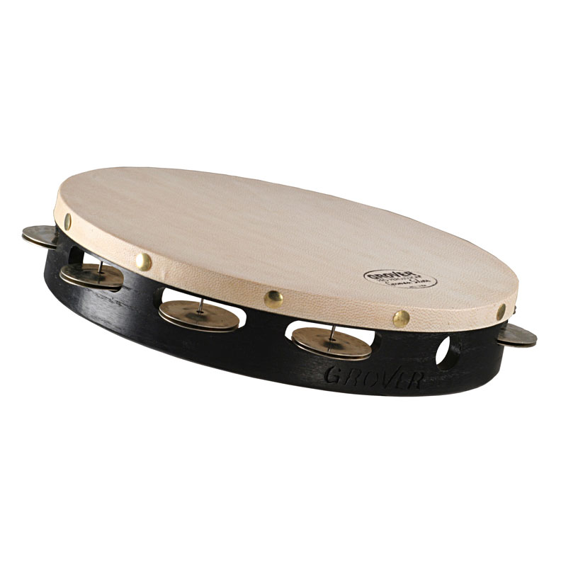 """Grover Pro 10"""" Projection-Plus Single-Row German Silver Tambourine (Natural Head)"""