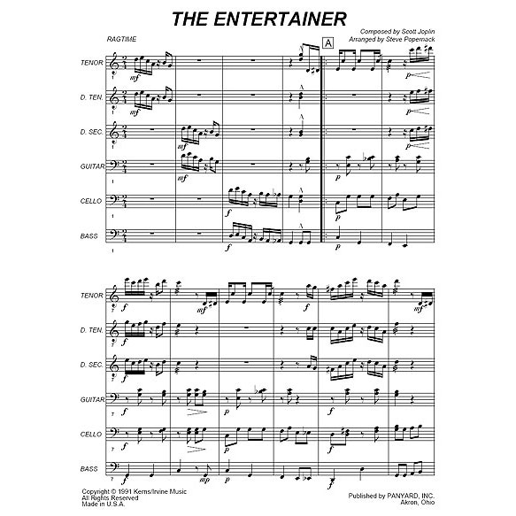 The Entertainer by Scott Joplin arr. Steve Popernack
