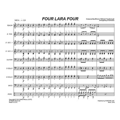 "Four Lara Four by Winston ""The Original Defosto Himself"" Scarborough arr. Steve Popernack"