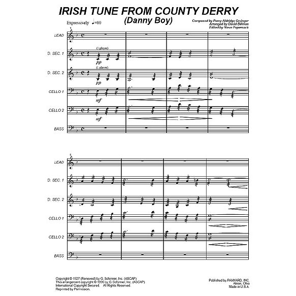 Irish Tune from Country Derry by Percy Aldridge Grainger arr. David Billman