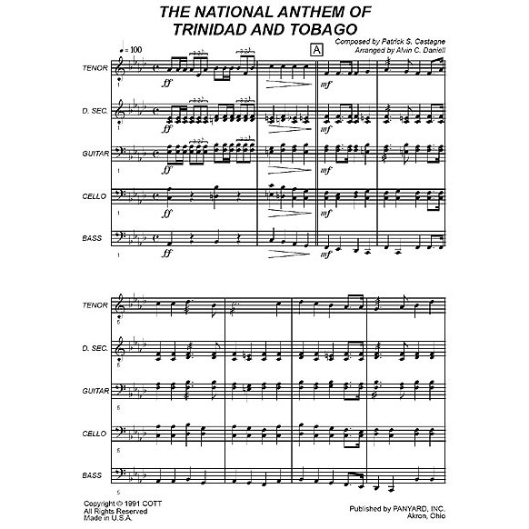 The National Anthem of Trinidad & Tobago by Patrick S. Castagne arr. Alvin C. Daniell