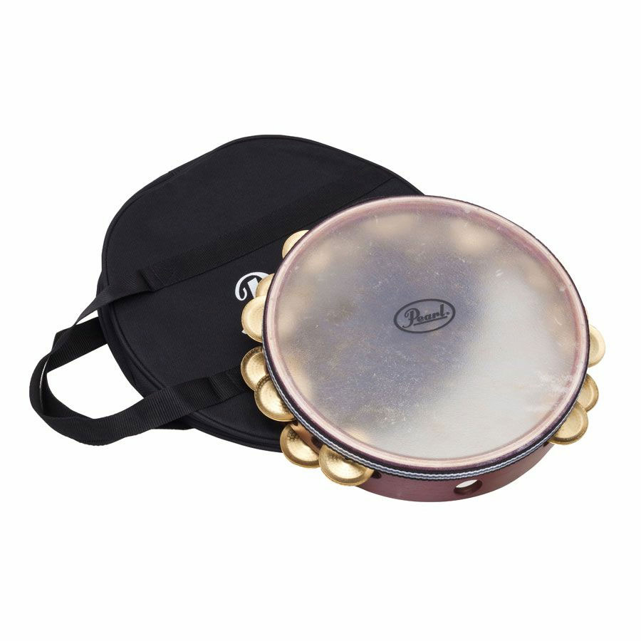 """Pearl 10"""" Symphonic Stamped Brass Double-Row Tambourine (Natural Head)"""