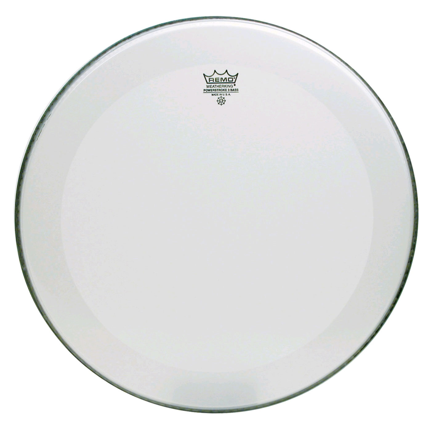 "Remo 18"" Powerstroke P3 Smooth White Bass Drum Head with 5"" White DynamO"