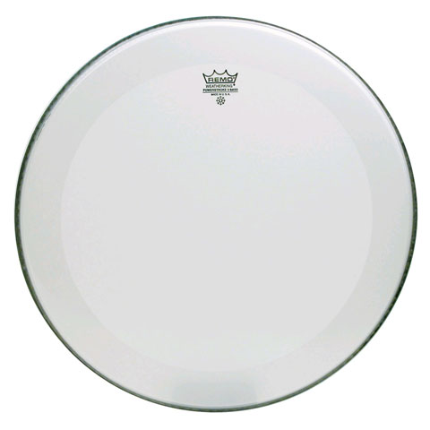 "Remo 24"" Powerstroke P3 Smooth White Bass Drum Head with 5"" White DynamO"