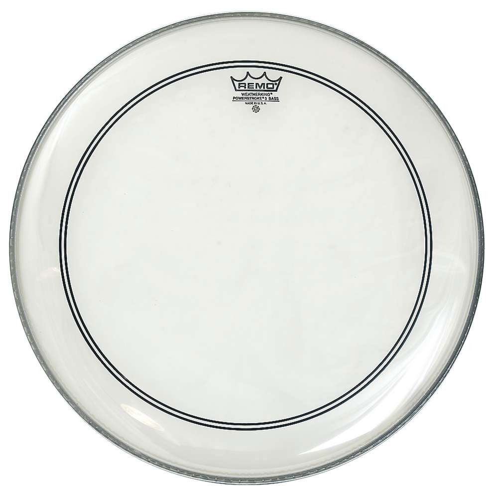 "Remo 24"" Powerstroke P3 Clear Bass Drum Head with Falam Patch"