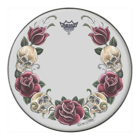 "Remo 20"" Powerstroke P3 Skyndeep Bass Drum Head with Color Rock and Roses on White Film"