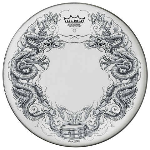 "Remo 22"" Powerstroke P3 Skyndeep Bass Drum Head with Black Dragon Skyn on White Film"