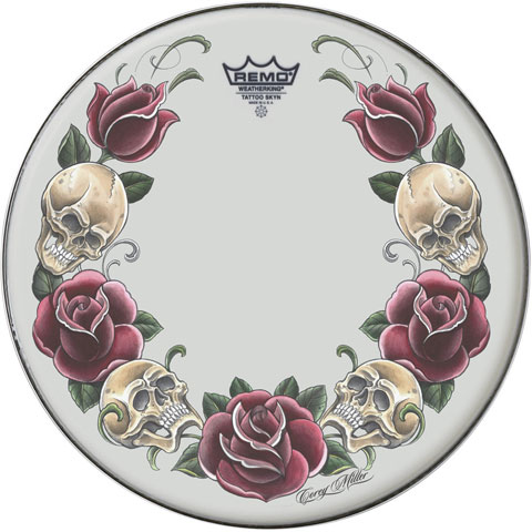 "Remo 22"" Powerstroke P3 Skyndeep Bass Drum Head with Color Rock and Roses on Black Film"
