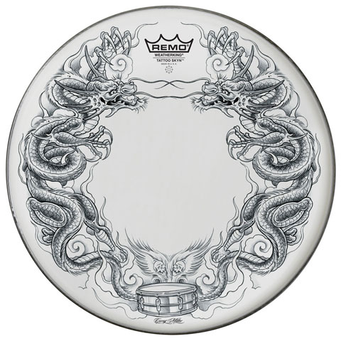 "Remo 22"" Powerstroke P3 Skyndeep Bass Drum Head with White Dragon Skyn on Black Film"