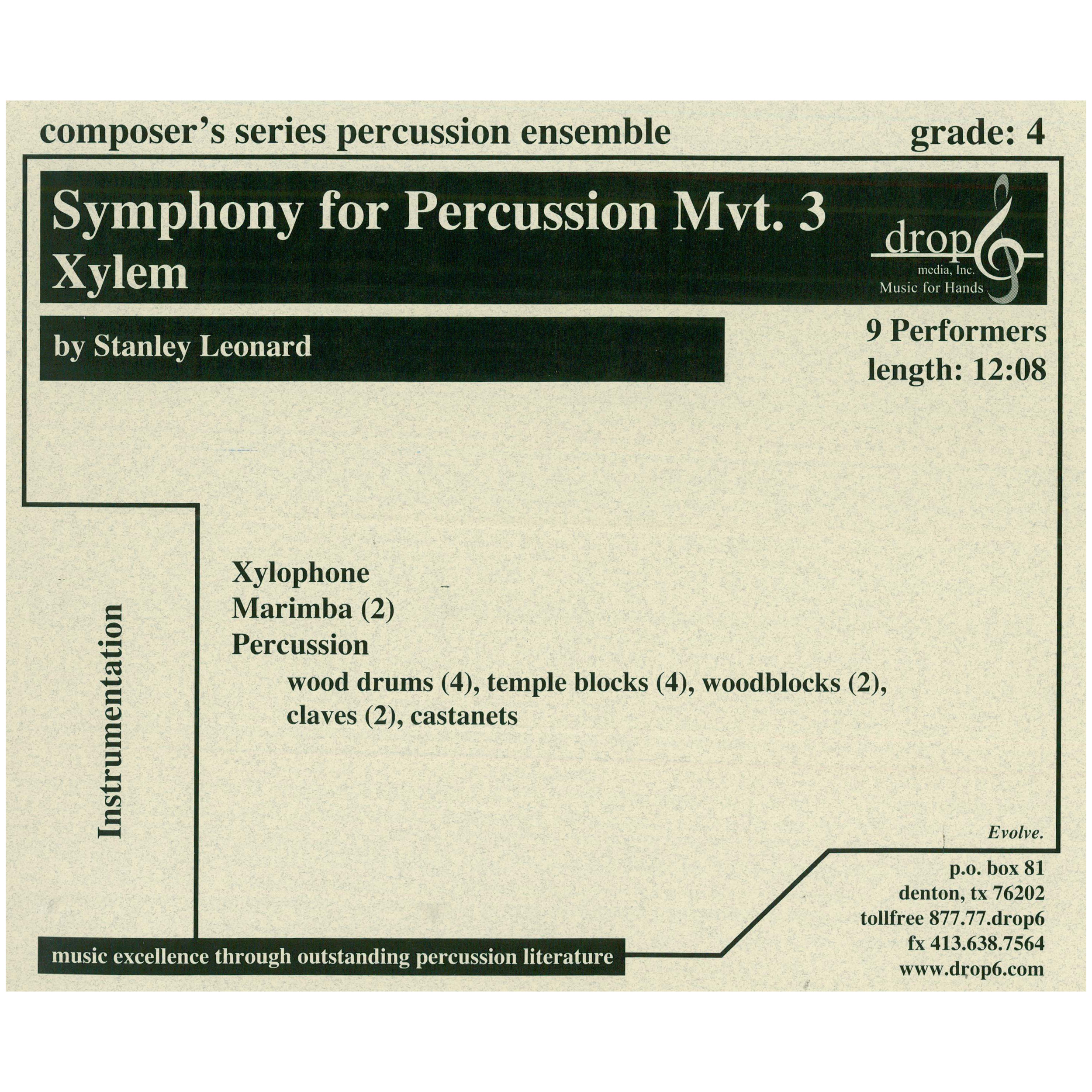 Symphony for Percussion, Mvt. 3: Xylem by Stanley Leonard