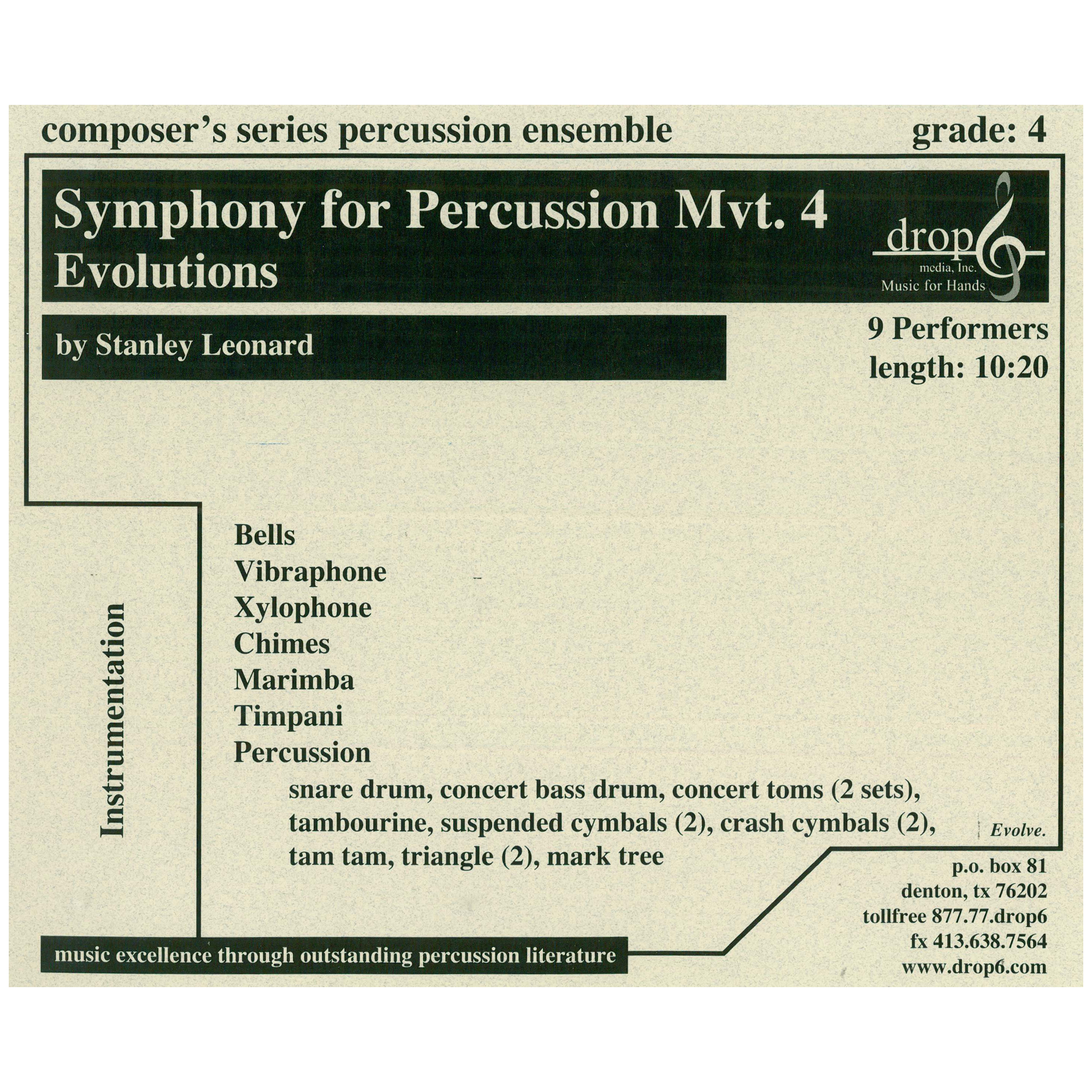 Symphony for Percussion, Mvt. 4: Evolutions by Stanley Leonard