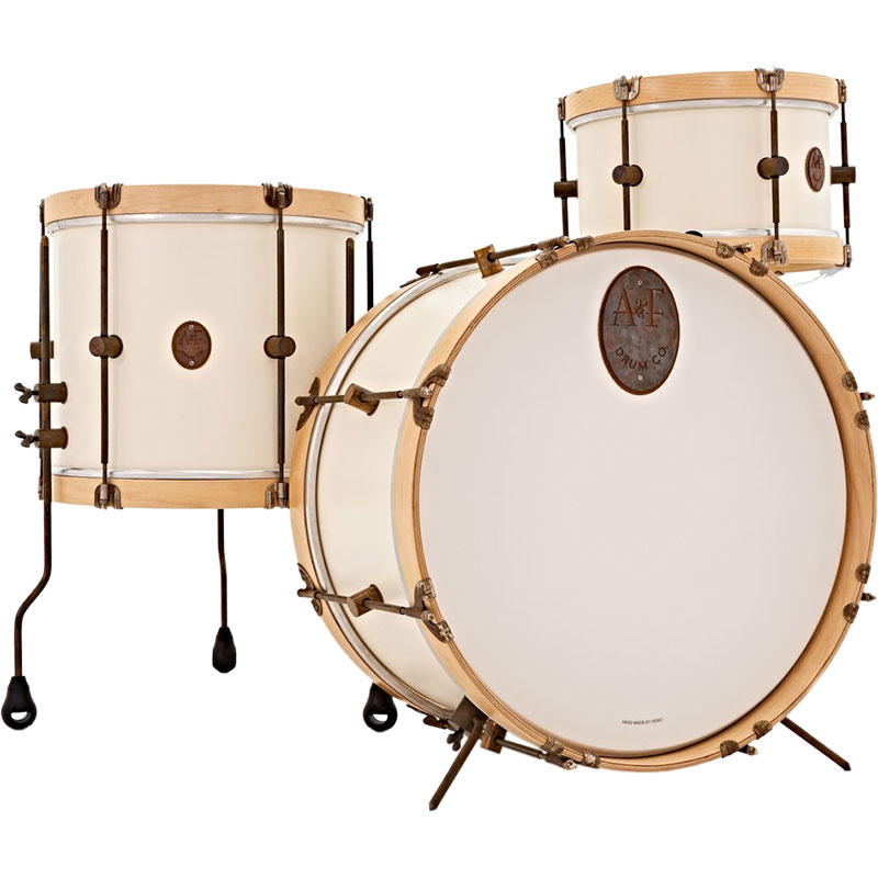 "A&F Drum Co. 3-Piece Antique White Maple Field Drum Set Shell Pack (26"" Bass, 14"" Tom, and 18"" Snom)"