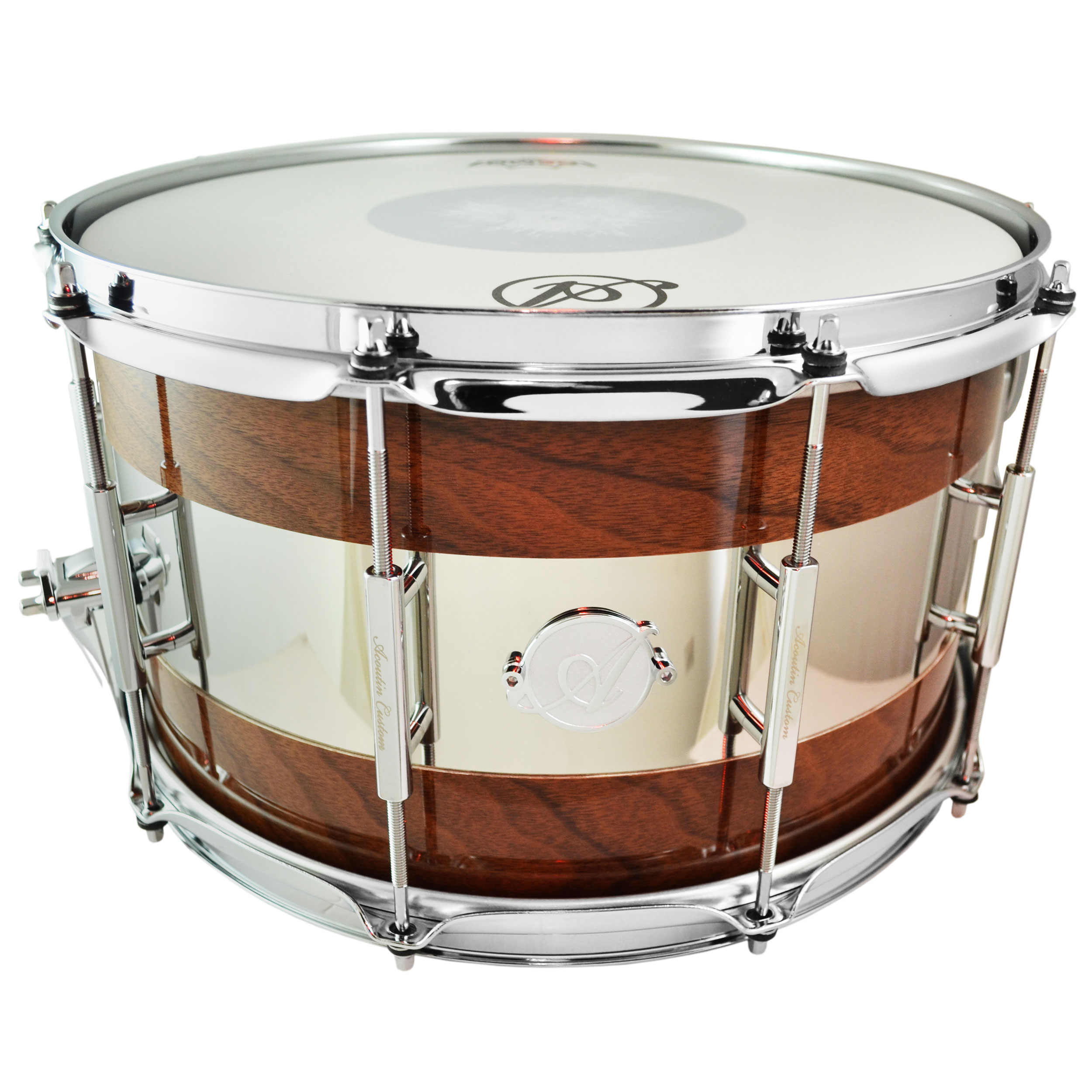 "Acoutin 8"" x 14"" Walnut & Polished Stainless Steel Snare Drum in High Gloss"