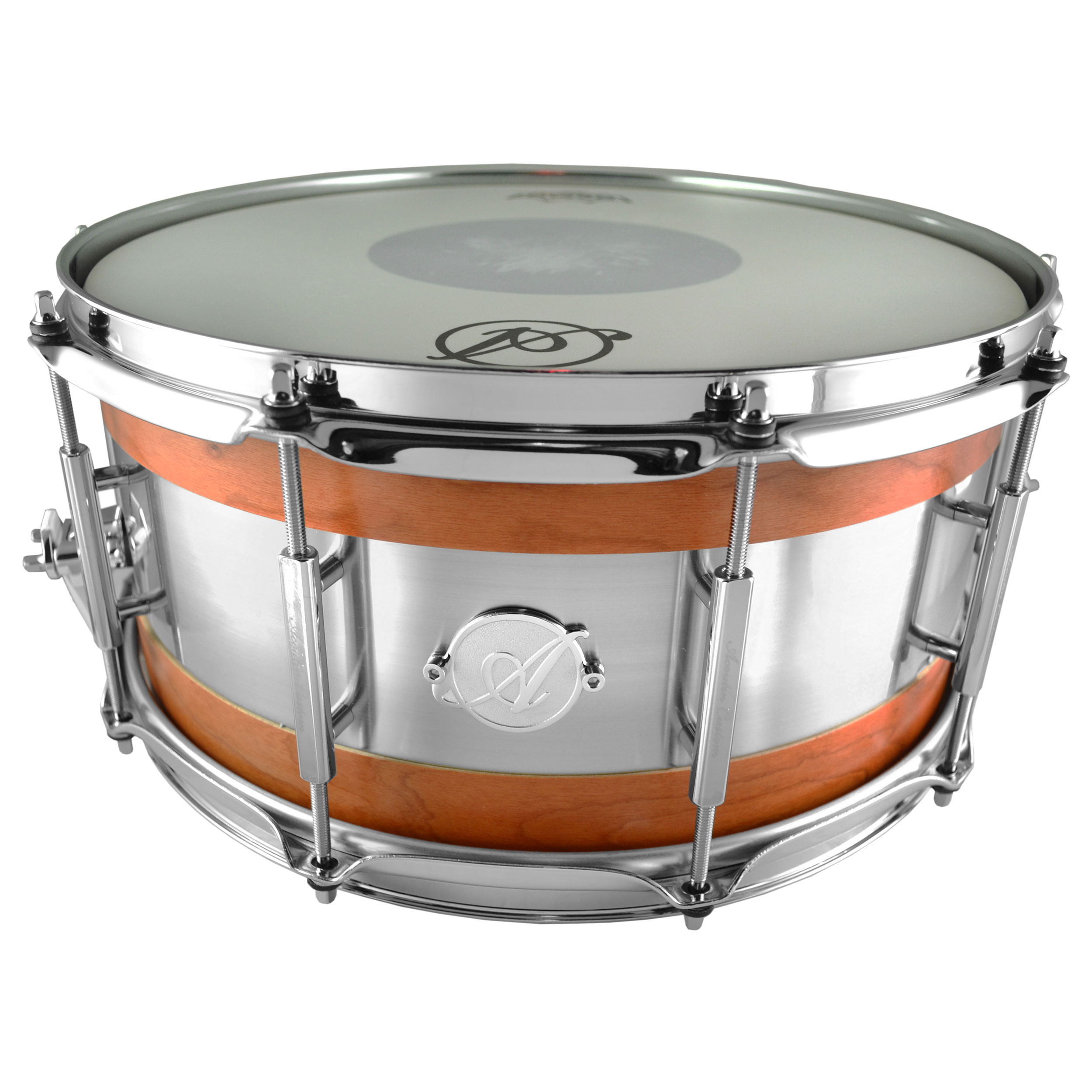 "Acoutin 6.5"" x 14"" Cherry & Brushed Stainless Steel Snare Drum in Matte Lacquer"