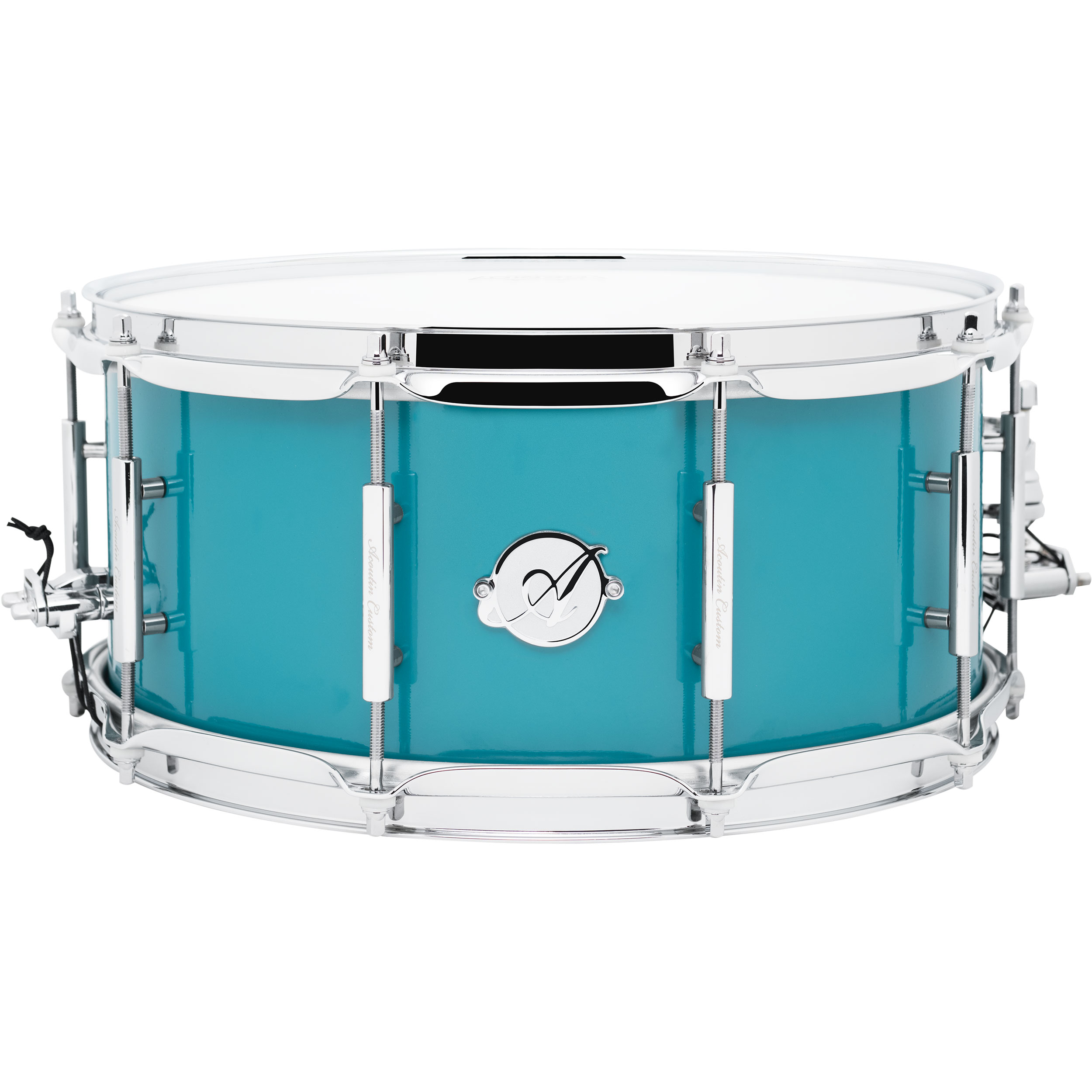 """Acoutin 6.5"""" x 14"""" Stainless Steel Snare Drum in Teal"""