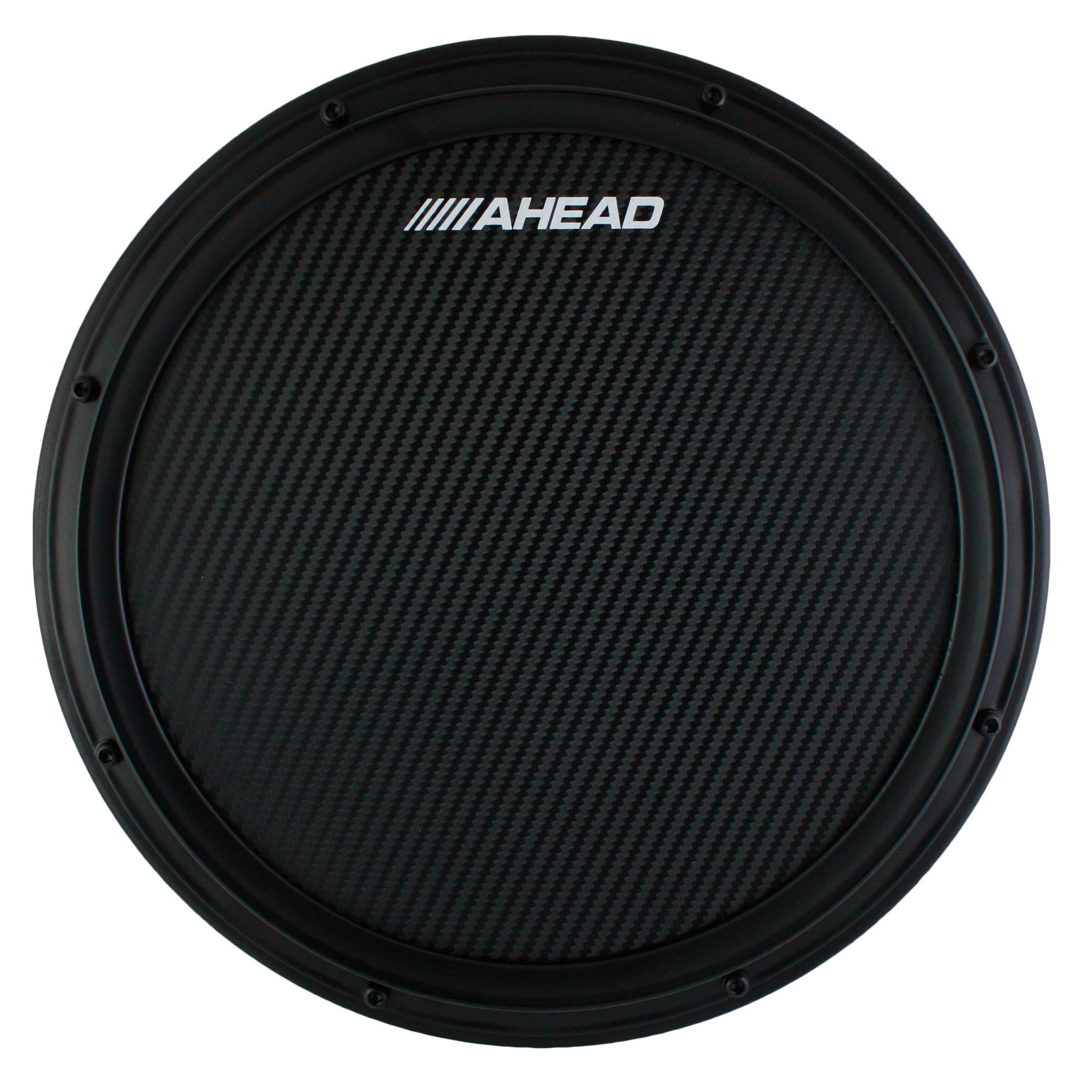 """Ahead 14"""" Black S-Hoop Marching Practice Pad with Snare Sound"""