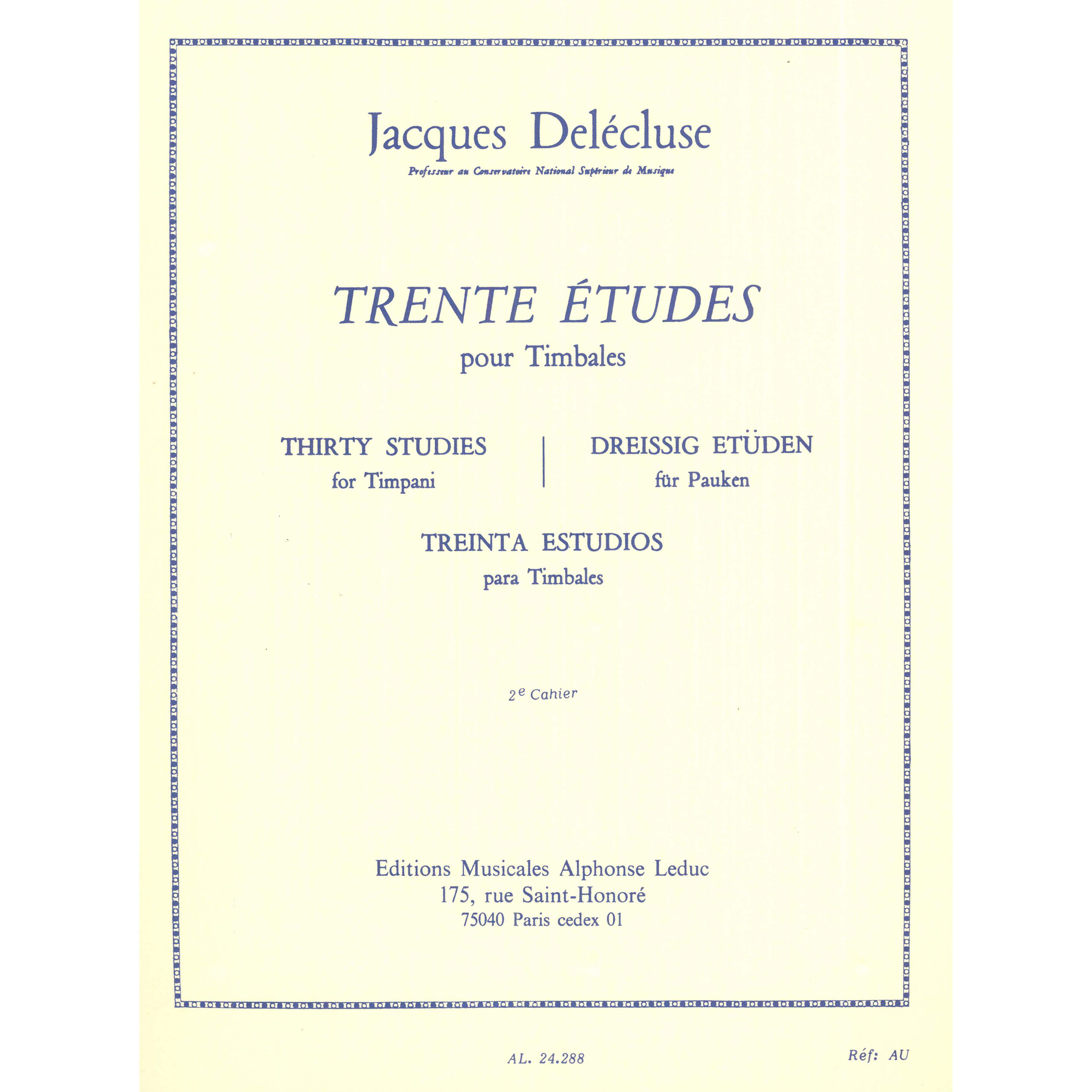 Trente Etudes pour Timbales (Thirty Etudes for Timpani) Book 2 by Jacques Delecluse