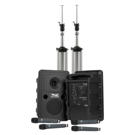 Anchor Audio Liberty Deluxe AIR 4: Bluetooth PA, Speaker, Stands, and Headband Mics