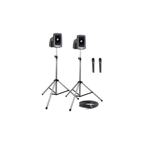 Anchor Audio MegaVox Deluxe Package 2 Includes MEGA2-U2, MEGA2-COMP, 50' Cable, Two Stands, and Two Wireless Headband Microphones
