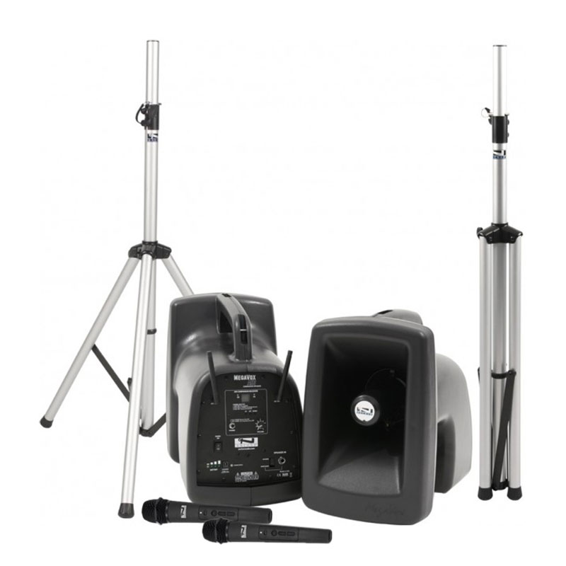 Anchor Audio MegaVox Deluxe AIR Package 2 Includes MEGA2-XU2, MEGA2-AIR, Two Stands, and Two Wireless Headband Microphones