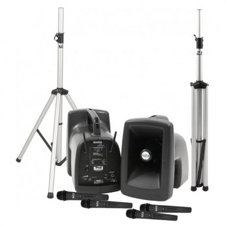 Anchor Audio MegaVox Deluxe AIR Package 4 Includes MEGA2-XU4, MEGA2-AIR, Two Stands, Four Wireless Headband Microphones