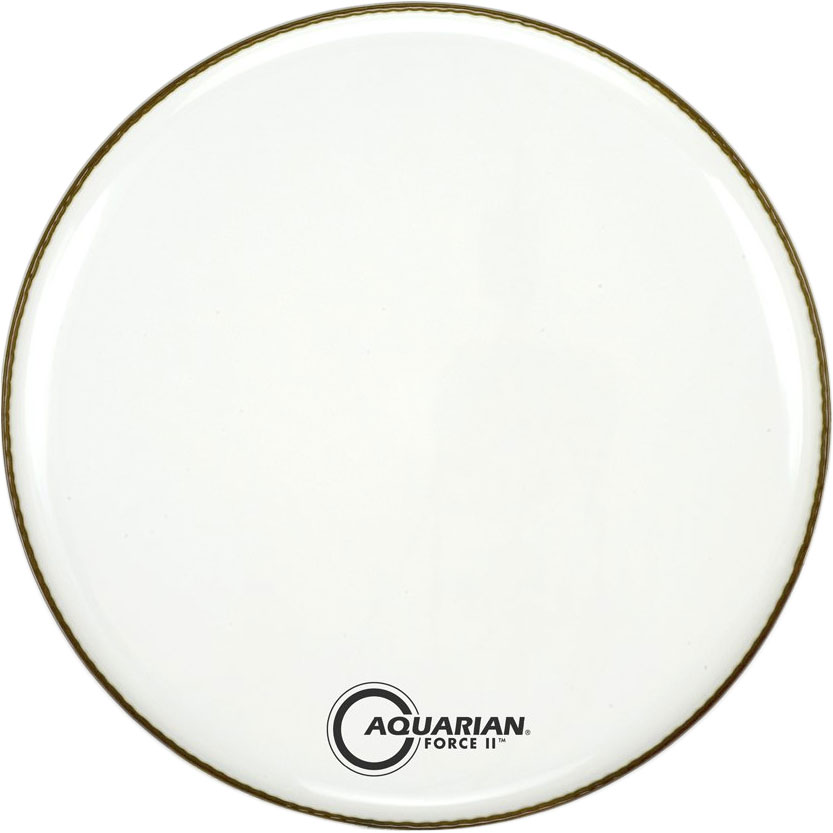 """Aquarian 22"""" Force II White Gloss Resonant Bass Head with Vented Control Ring"""