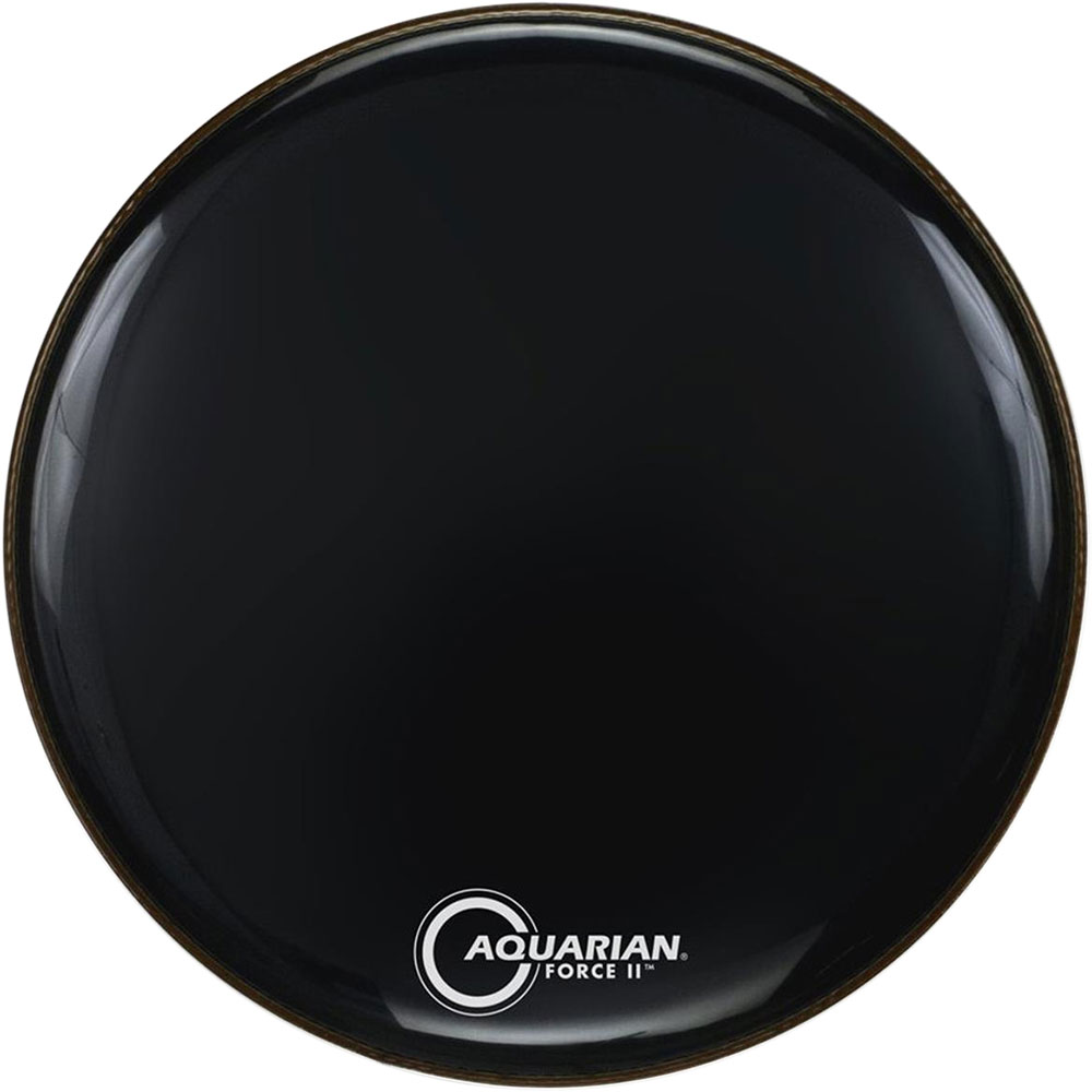"""Aquarian 24"""" Full Force II Black Gloss Resonant Bass Head with Vented Control Ring"""
