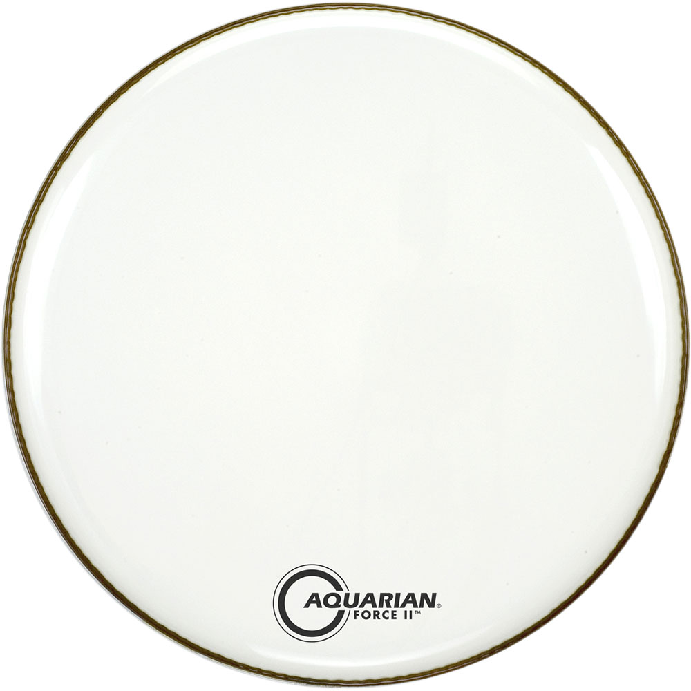 """Aquarian 24"""" Full Force II White Gloss Resonant Bass Head with Vented Control Ring"""