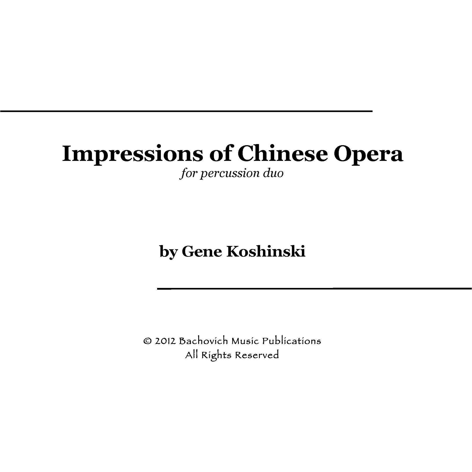 Impressions of Chinese Opera for Percussion Duet by Gene Koshinski