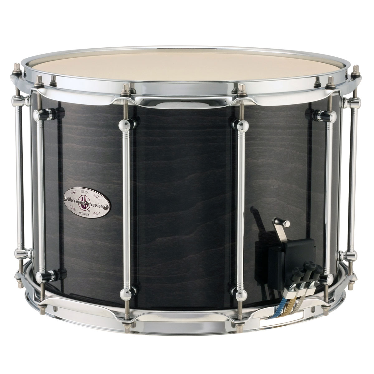 "Black Swamp 10"" (Deep) x 14"" (Diameter) Maple Field Drum with 2.3mm Steel Hoops and Trio Strainer"