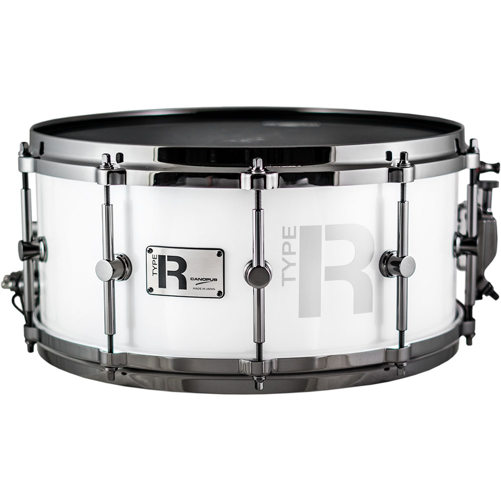 "Canopus 14"" x 6.5"" Type R Series Snare Drum in Snow Metallic with Black Nickel Hardware"