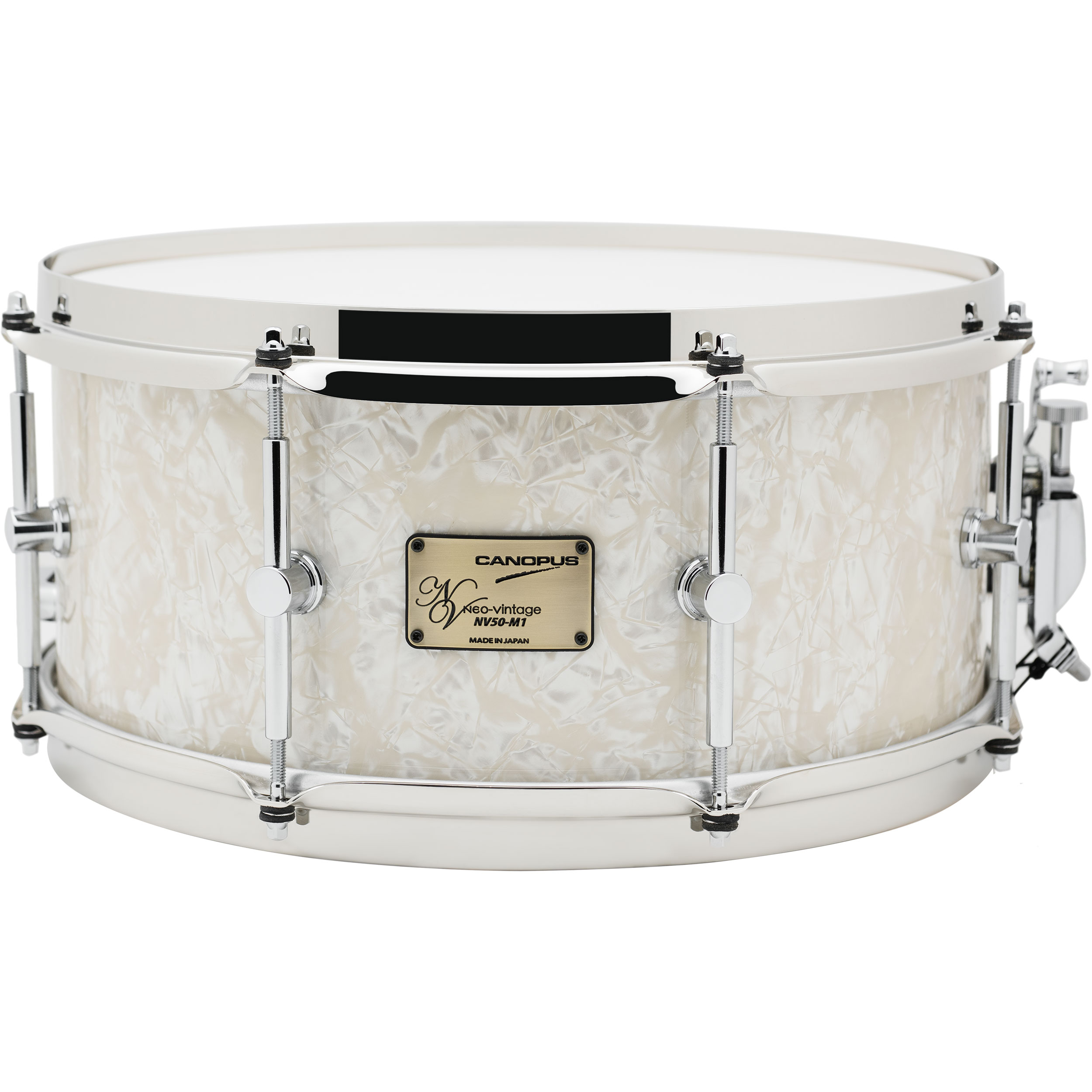 "Canopus 6.5"" x 14"" Neo-Vintage M1 Snare Drum with Straight Brass Hoops in Vintage Pearl"