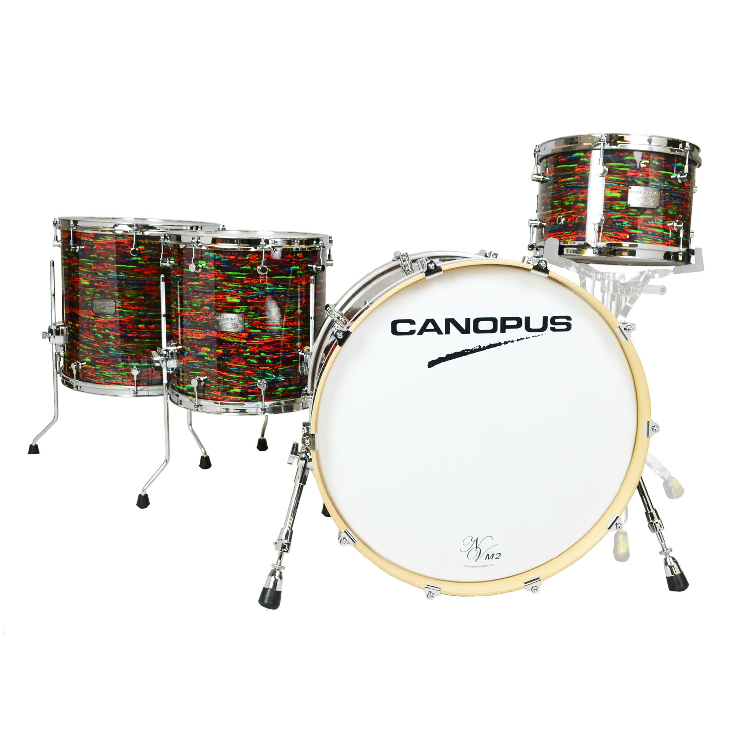 """Canopus Neo-Vintage M2 4-Piece Drum Set Shell Pack (22"""" Bass, 12/14/16"""" Toms) in Psychedelic Red"""
