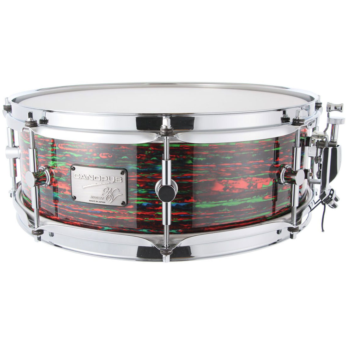 """Canopus 14"""" x 6.5"""" Neo Vintage M2 Snare Drum in Psychedelic Red"""