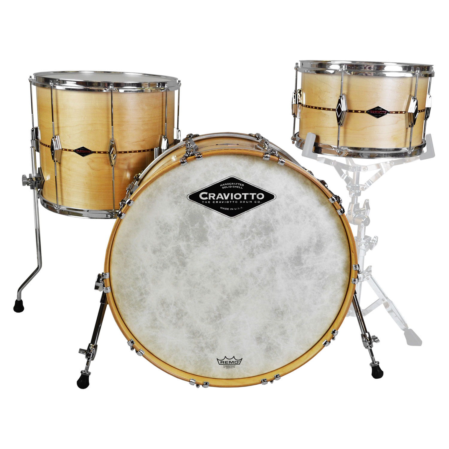 """Craviotto Center Stage Solid Maple 3-Piece Drum Set Shell Pack (22"""" Bass, 13/16"""" Toms) with Walnut Inlays"""