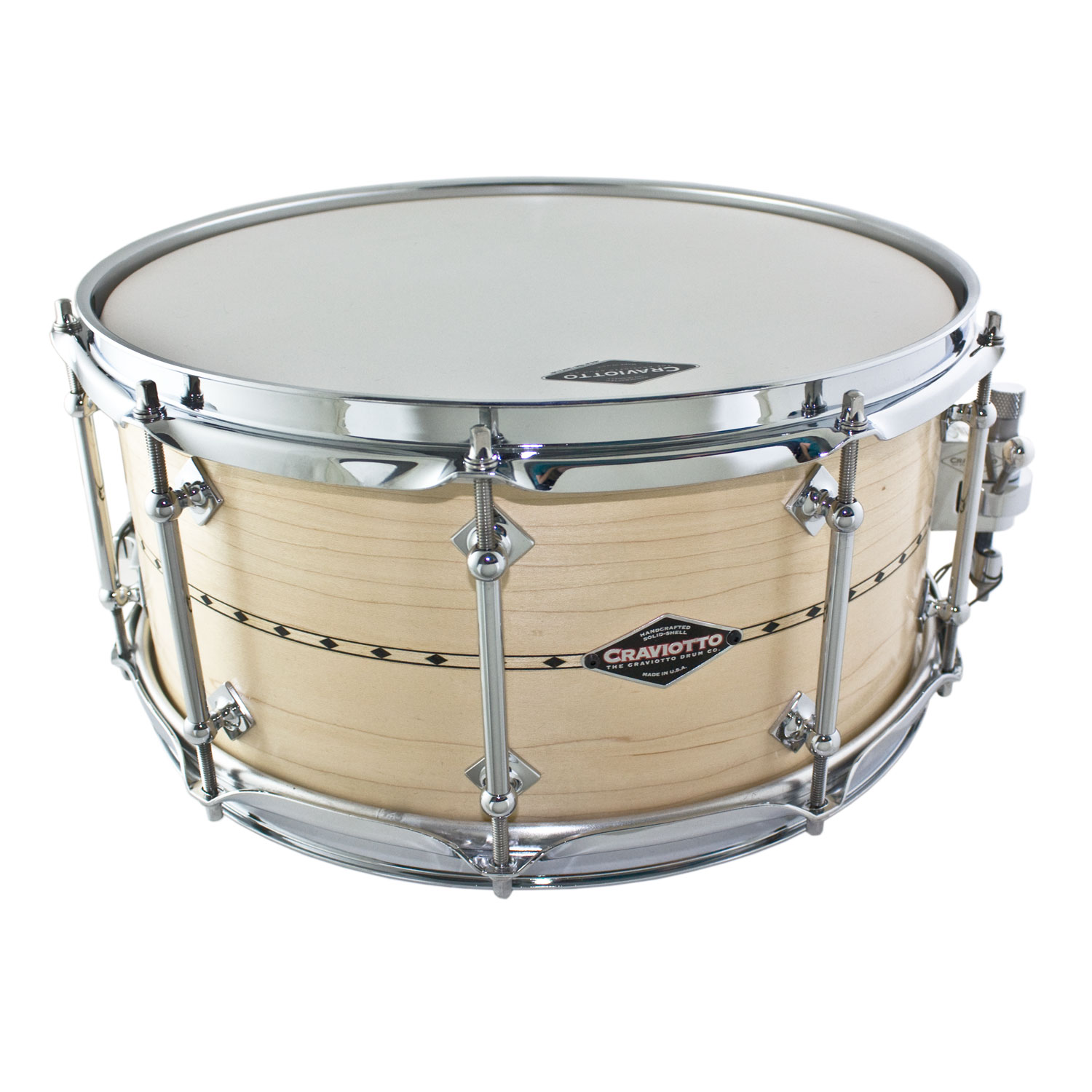 "Craviotto 6.5"" x 14"" Custom Shop Solid Shell Maple Snare Drum with Inlay"