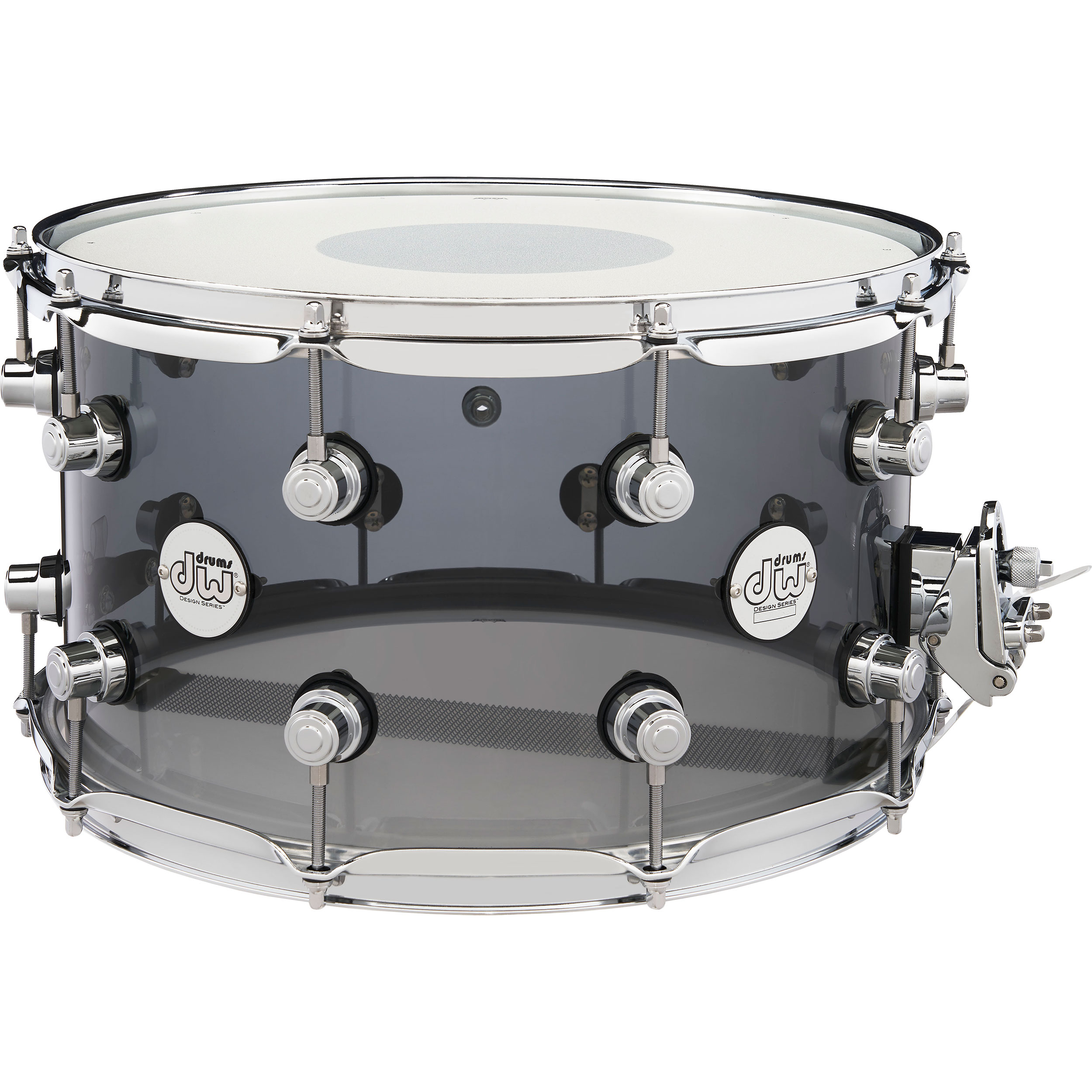 "DW 8"" x 14"" Design Series Acrylic Snare Drum in Smoke"