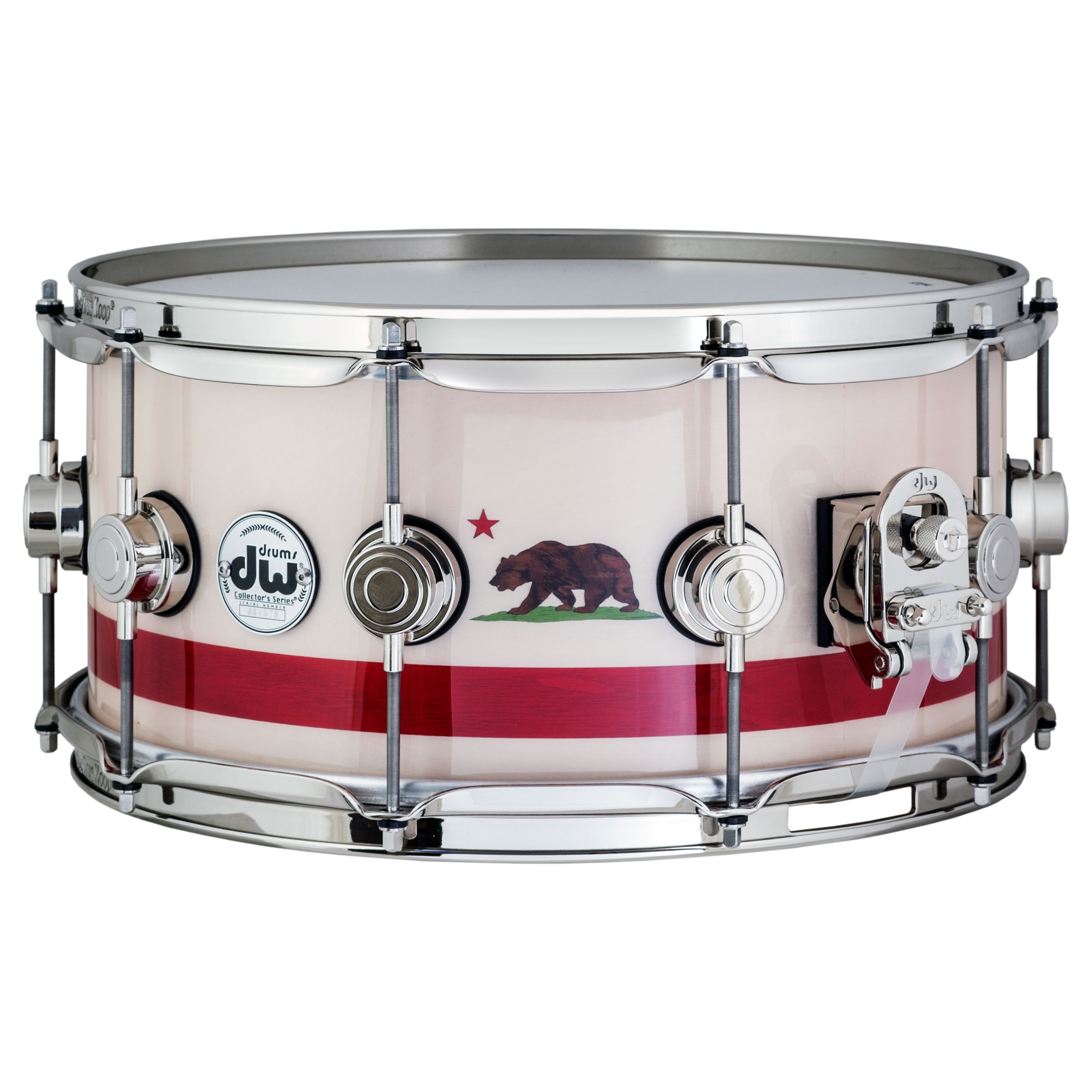 "DW 6.5"" x 14"" Exclusive Maple Snare Drum with California Flag Emblem with White Sycamore Veneer"