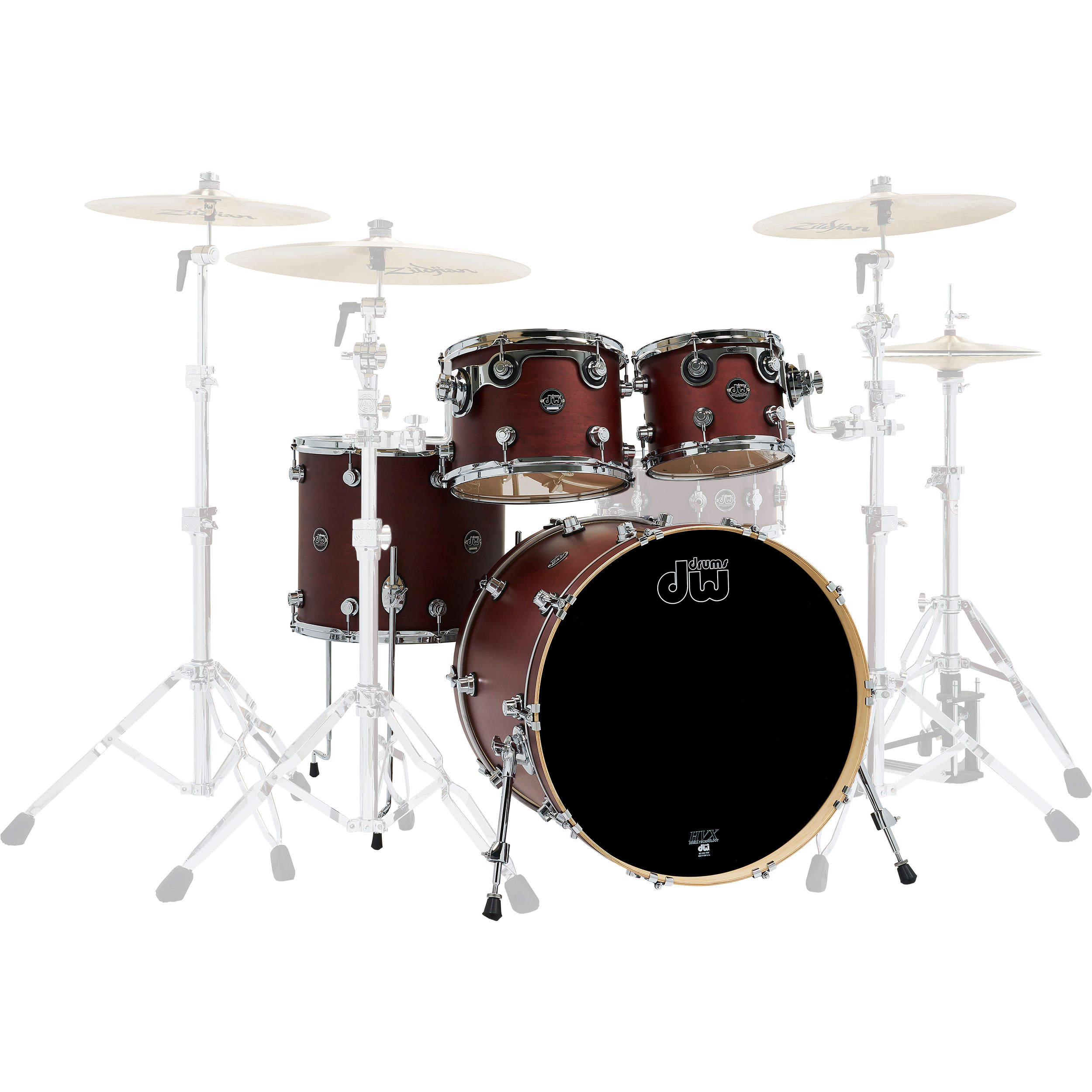 "DW Performance 4-Piece Drum Set Shell Pack (22"" Bass, 10/12/16"" Toms) in Tobacco Stain"