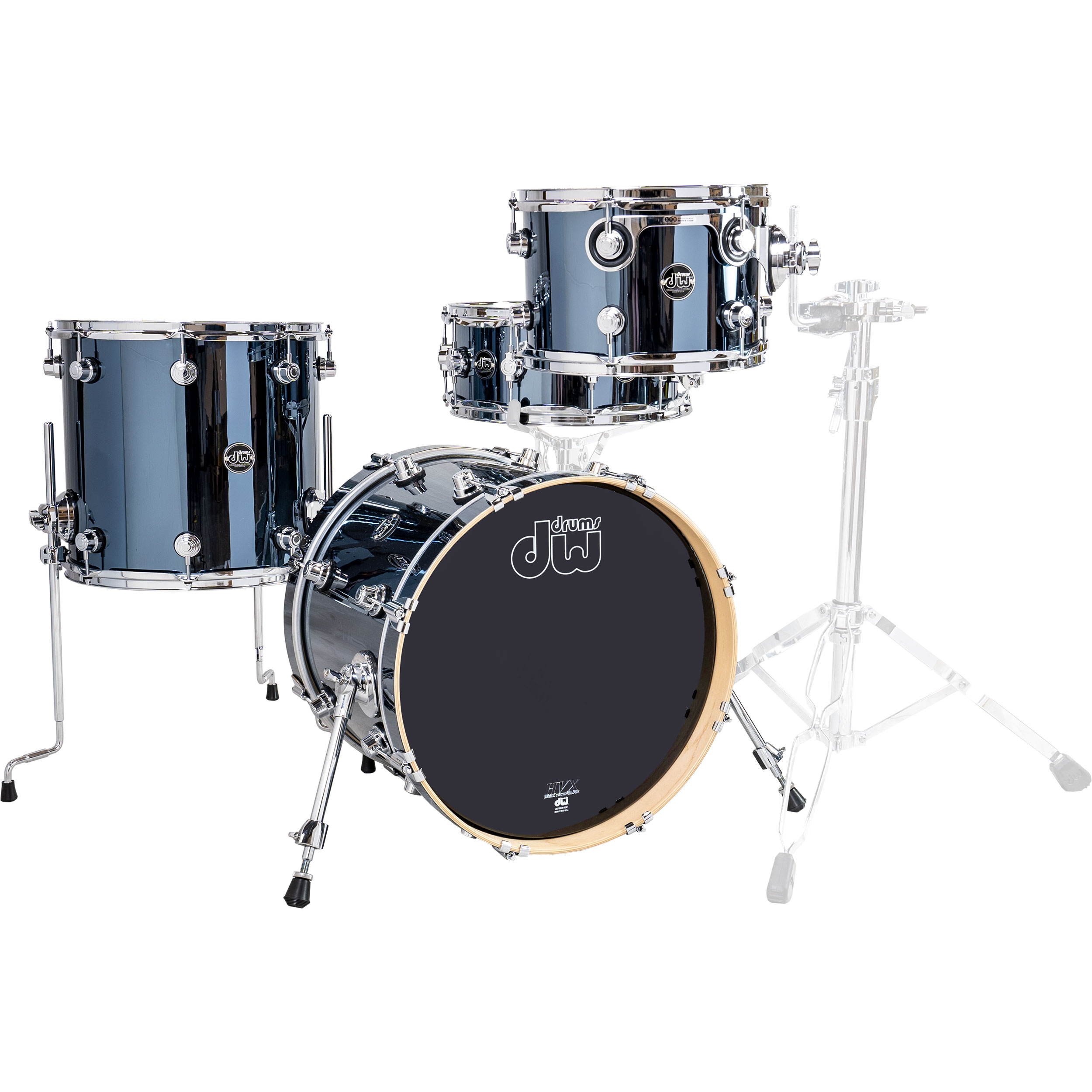 "DW Performance Series 4-Piece Drum Set Shell Pack (18"" Bass, 12/14"" Toms, 14"" Snare) in Chrome Shadow"