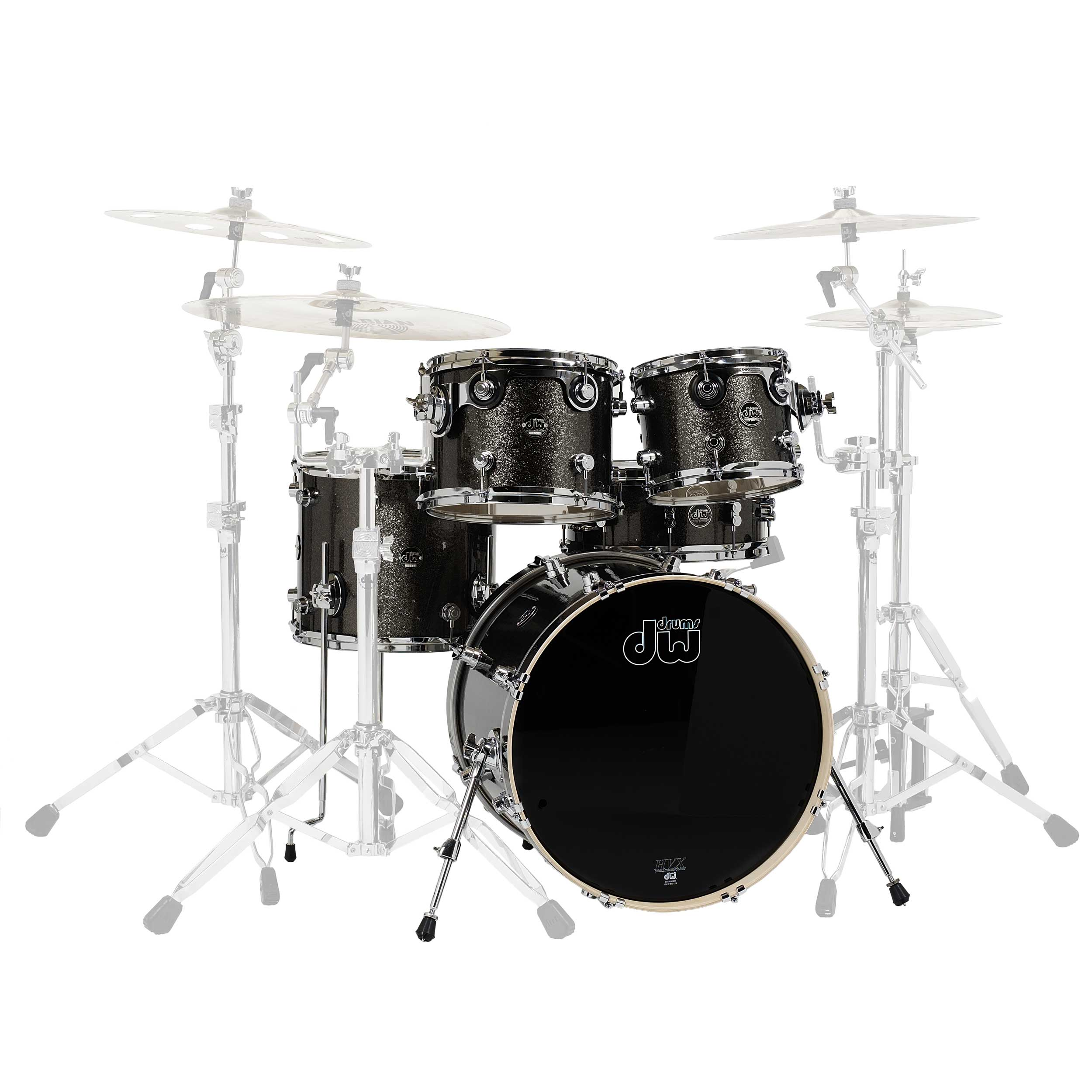 "DW Performance 5-Piece Drum Set Shell Pack (22"" Bass, 10/12/16"" Toms, 14"" Snare) in Pewter Sparkle"