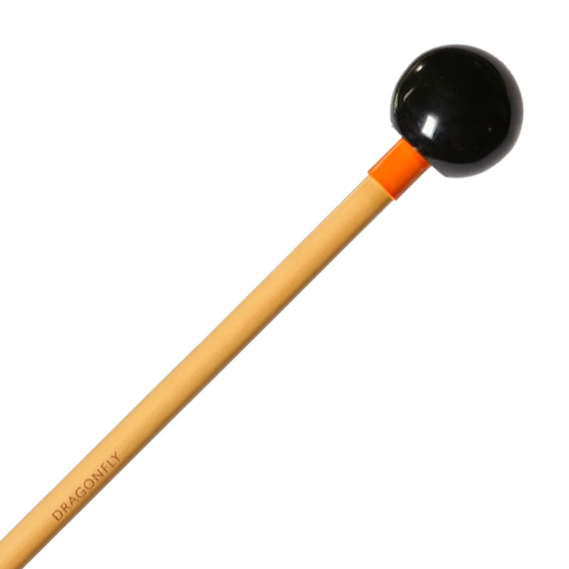 """Dragonfly Percussion 1"""" Black Phenolic Bell Mallets with Rattan Handles"""