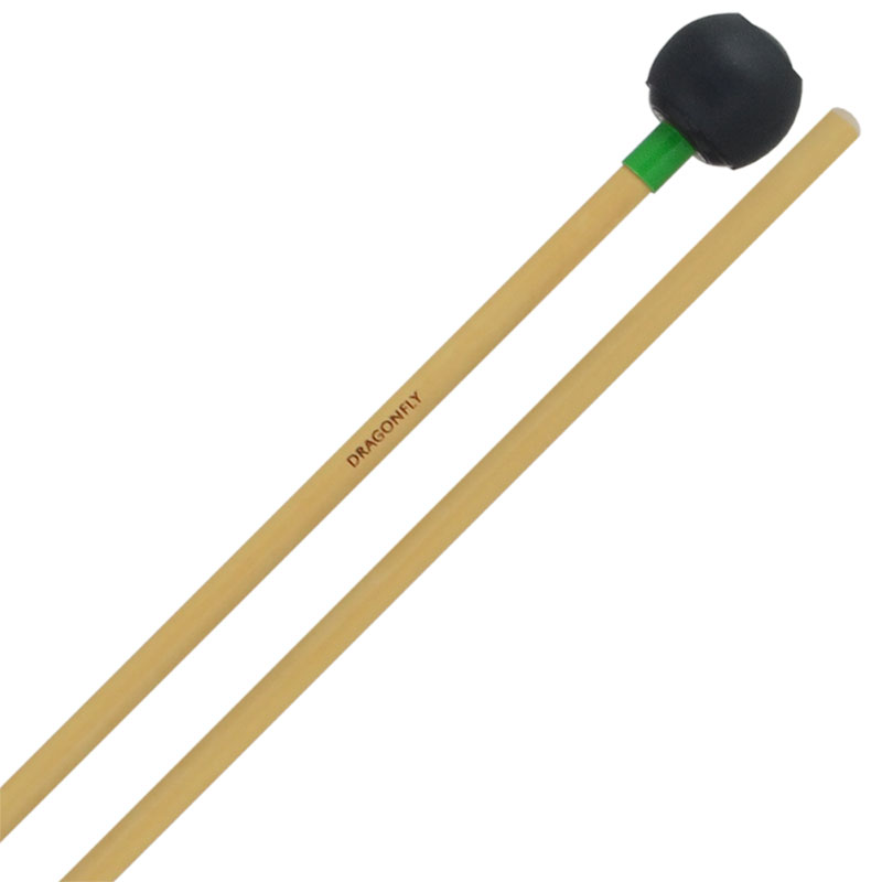 """Dragonfly Percussion 1"""" Black """"Celeste"""" Bell Mallets with Rattan Handles"""