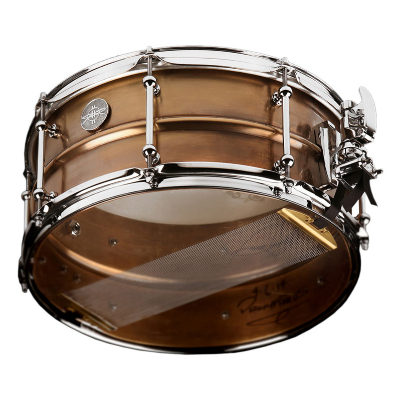 "Dunnett 5.5"" x 14"" Model 2N Brass Snare Drum in Antique Finish"