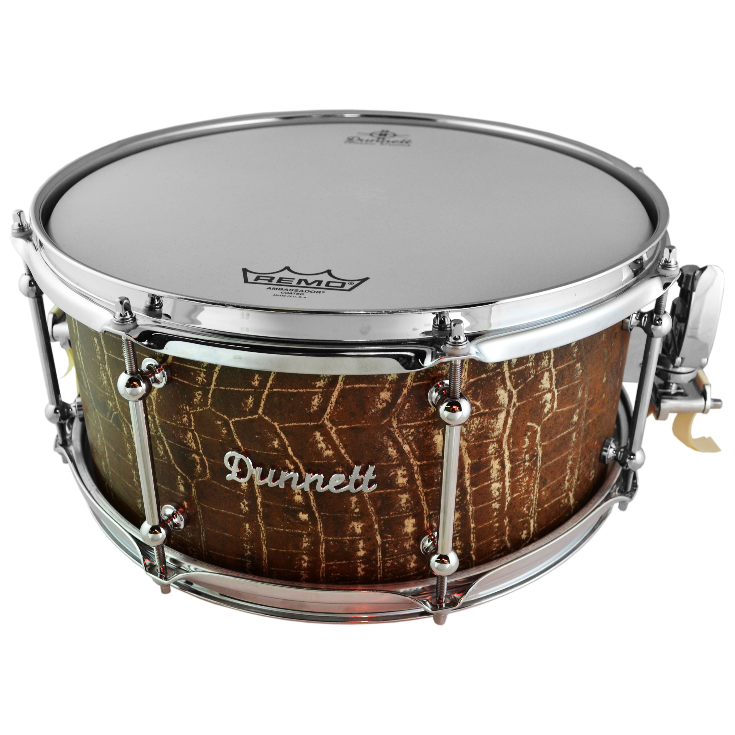 "Dunnett 6.5"" x 14"" James Trussart Gator Steel Snare Drum"