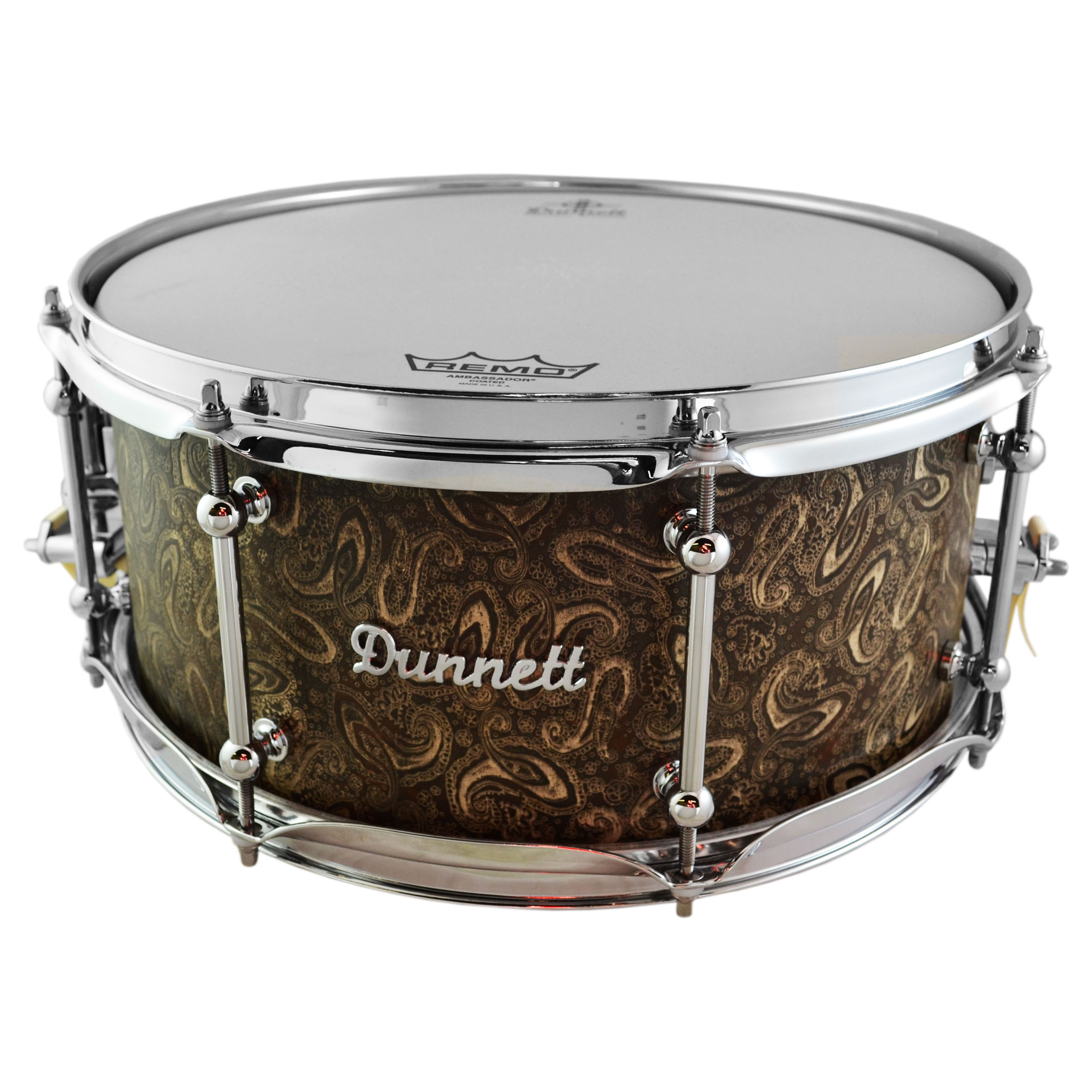 "Dunnett 6.5"" x 14"" James Trussart Paisley Rust-o-Matic Steel Snare Drum"