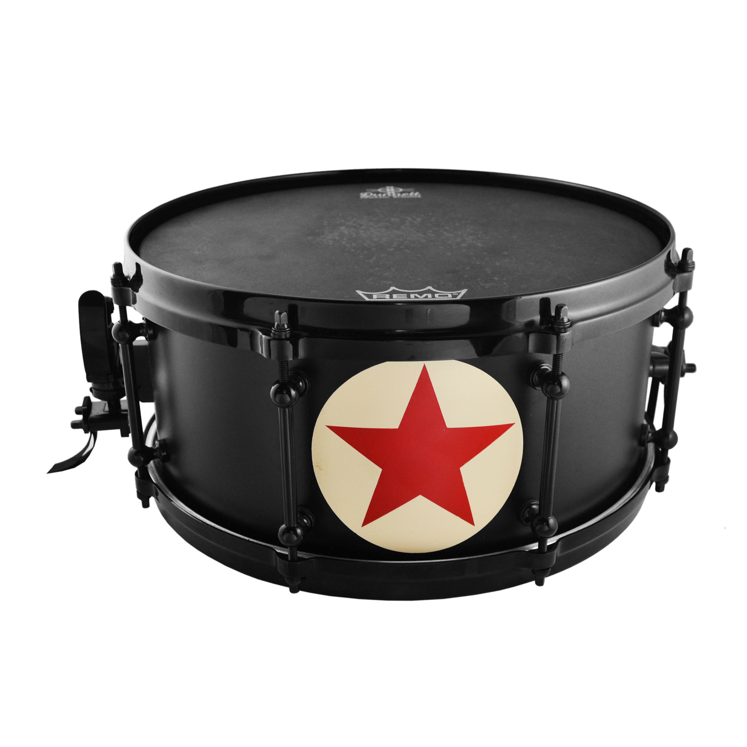 "Dunnett 6.5"" x 14"" James Trussart Red Star on Matte Black Steel Snare Drum"