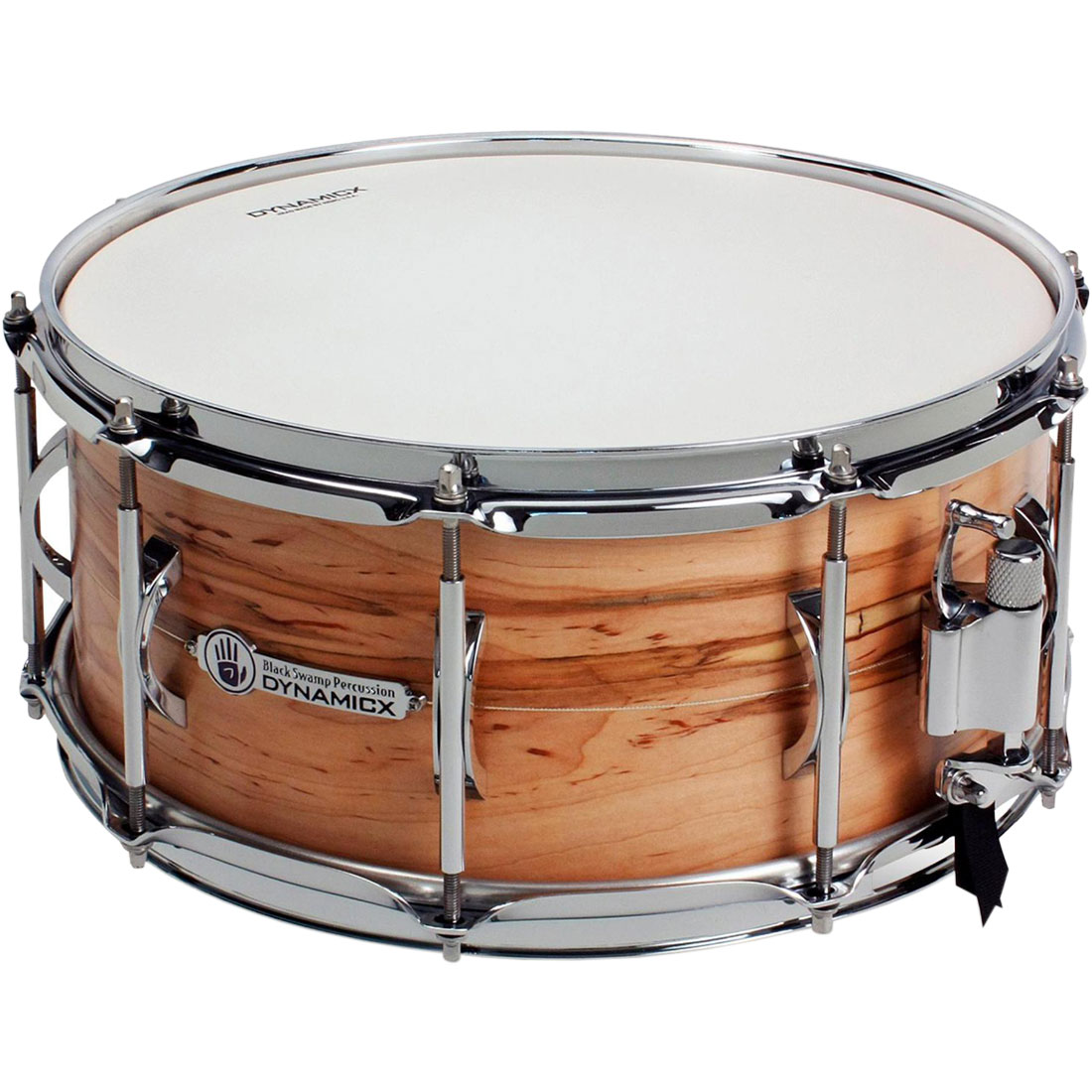 "Dynamicx 5.5"" x 14"" Live! Series Unibody Solid Shell Ambrosia Maple Snare Drum with Sterling Silver Inlay"